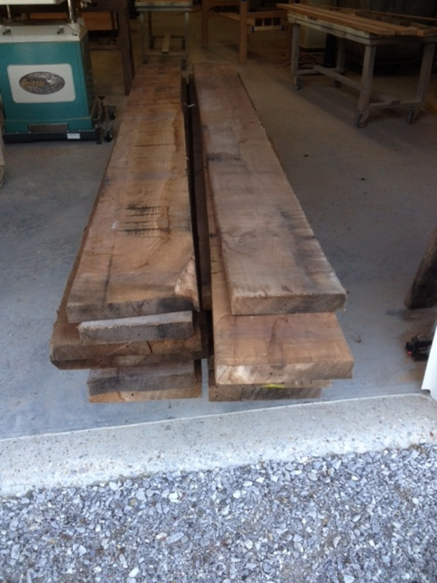 Locally sourced Vermont walnut boards for handcrafted dining table