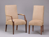 Upholstered Dining Chair. Shown in Mahogany with customer's choice of fabric.