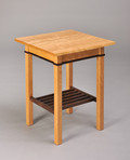 Gloucester Occasional Table. Shown in Cherry with Walnut apron inlay and rack.
