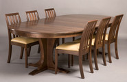 Regency Dining Chairs.  Shown here in Walnut with Regency Pedestal Extending Table. Table extended.