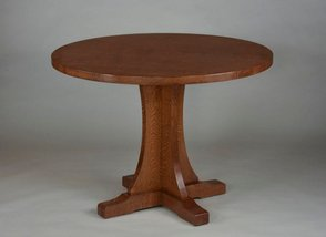 Oak Pedestal Table. Quartered White Oak