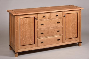 Quartered White Oak Sideboard. Wenge accents and optional top inlay.