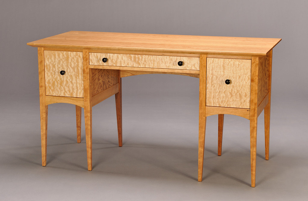 Shaker Inspired Desk. Cherry With Quilted Maple Drawer Fronts And Curly  Cherry Panels. Ebonized Drawer Pulls.