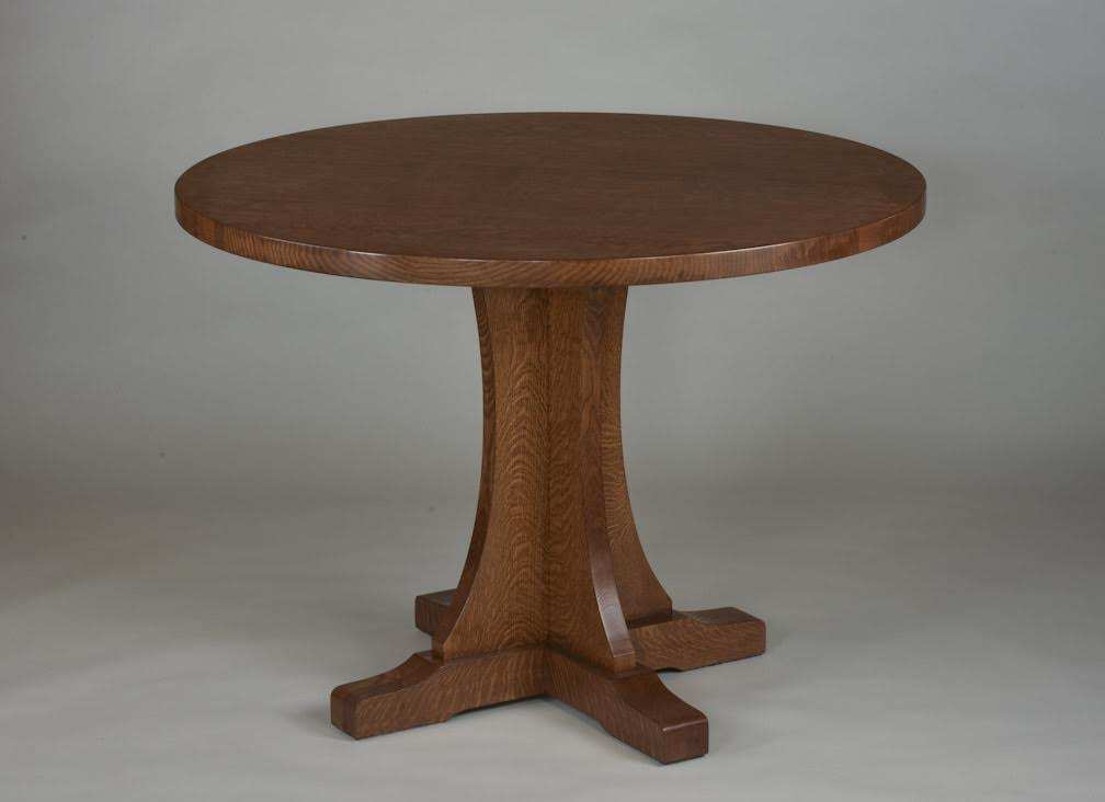 Round Pedestal Table Shown In Quartered White Oak With A