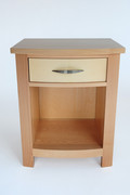 Gatsby Nightstand. Shown in Maple with Curly Sycamore  bowed drawer front.