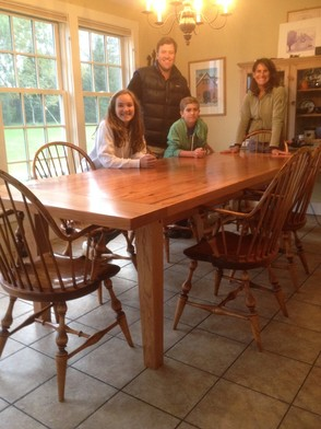 O'Brien family with new table.