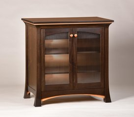 Shown in Dark Walnut with Cherry detailing and quarter reid glass panels.