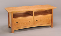 Pickwell Credenza. Shown here in Cherry with 2 large lateral file drawers and open cubbies.