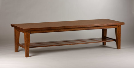 Coffee table shown in mid stained, quartered White Oak. Solid top and lower shelf. 72in x 24in x 19inH