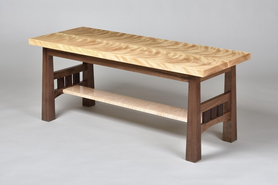 Walnut & Curly Birch bench with Tiger Maple stretcher and Wenge details