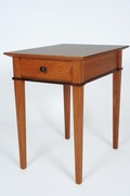 GloucesterLlight Sofa End Table.  Shown in Cherry with tapered legs, beveled top and Walnut apron inlays.