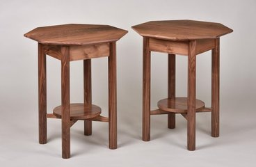Walnut end tables. Octagonal top and round shelf.
