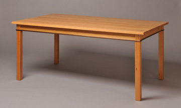Gloucester Dining Table. Shown in Cherry with Walnut apron inlay.