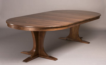 Regency Pedestal Extending Table. Shown here in Walnut. Extended.