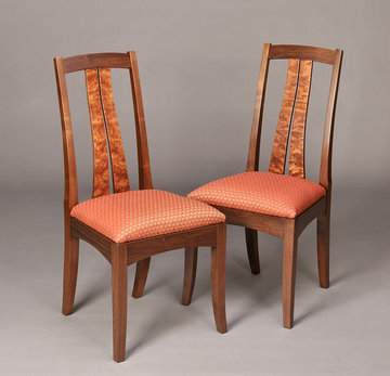 Fountain Brook side chairs shown in Walnut with Bubinga slats.