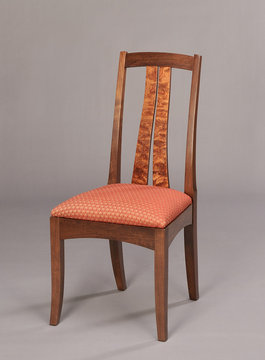 Fountain Brook side chair shown in Walnut with Bubinga slats.