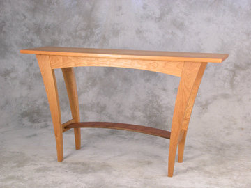 Fountain Brook server shown in Cherry with Walnut stretcher.