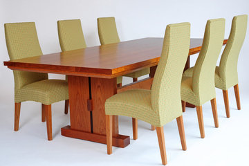 Slab Trestle Table. Shown in Cherry with Wenge detail. With Fully Upholstered Dining Chairs.