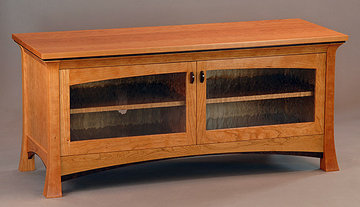 Pinnacle Media Cabinet. Shown in Cherry with Wenge accents and