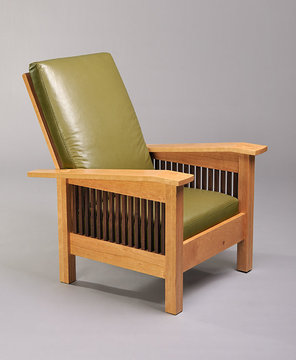 Gloucester Easy Chair shown here in Cherry with Walnut spindles. Green leather.