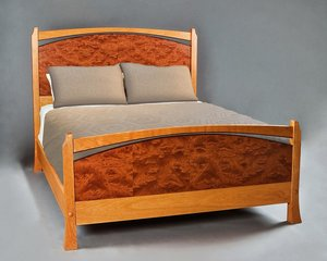 Queen size Pinnacle Bed. Shown in Cherry with matched Bubinga panels and Wenge accents. Full footboard. Simple footrail is available.