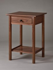 A single drawer nightstand with shelf to match the Sapperton bed. Walnut.